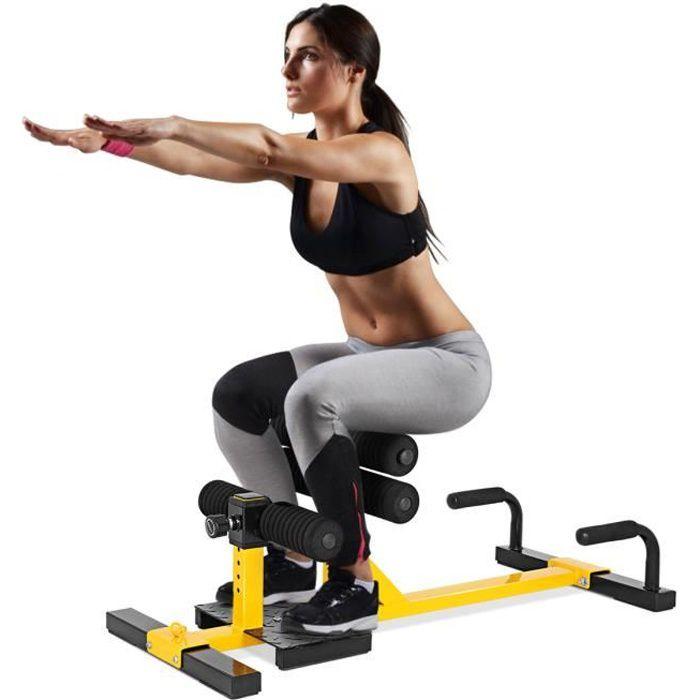 GOPLUS Machine à Squat Profond Multifonctionnelle Réglable en 6 Niveaux de Hauteur,avec Poigné,Utilisation pour Maison,Bureau,Gym