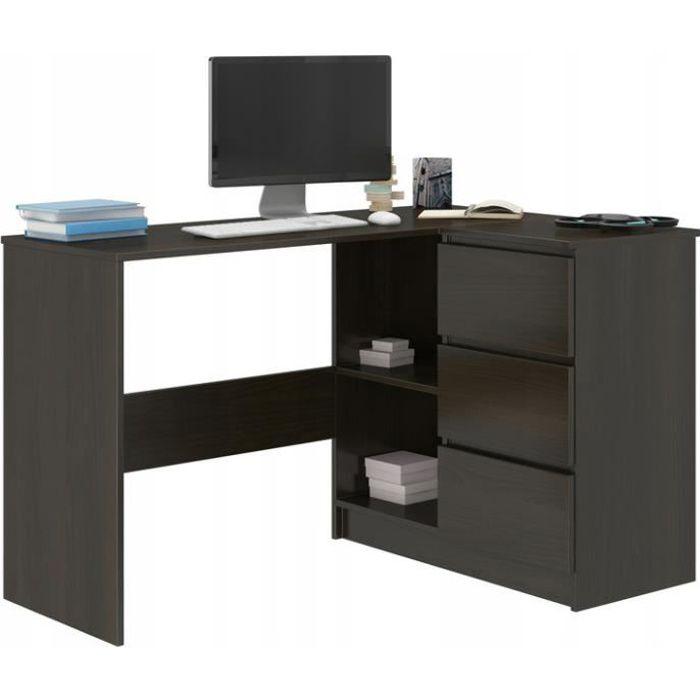 REX W - Bureau d'angle + rangements + 3 tiroirs - 112x87x76 - Table d'ordinateur forme de L - Table de travail - Wengé