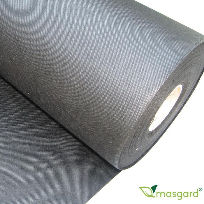 100 m² géotextile - toile de paillage - contre mauvaises herbes 1,00 m x 100,00 m - 50 g/m² noir