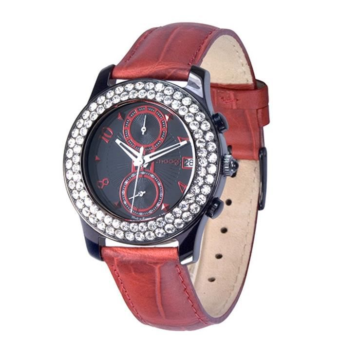 Moog Paris Heritage Women's Watch with Black & Red Dial, Red Genuine Leather Strap & Swarovski Elements - M45552-005