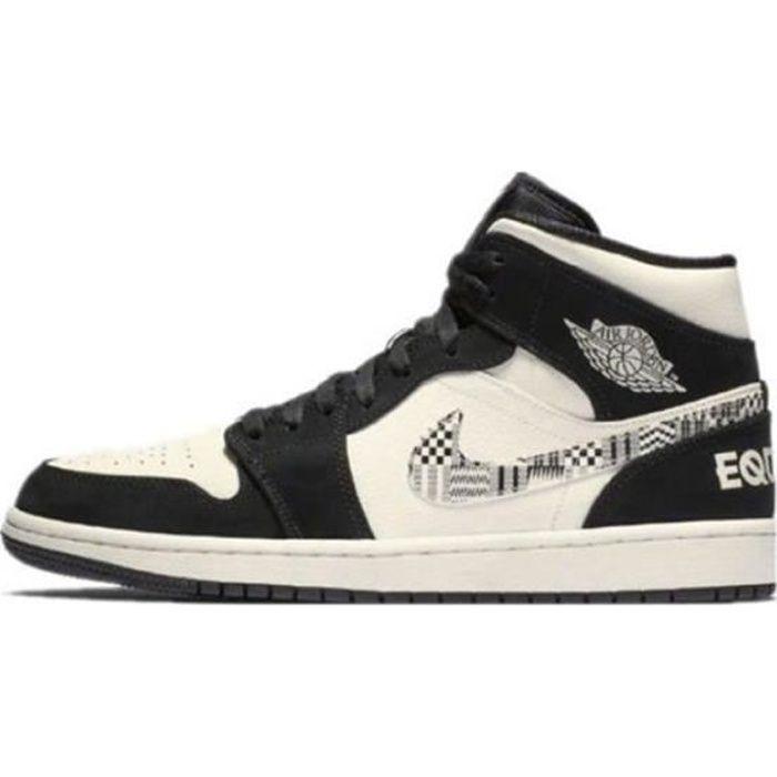 Air Jordan 1 Mid-BHM Equality-Chaussure de Basket Air Jordan One AJ 1 Pas Cher pour 852542-010 Homme Femme