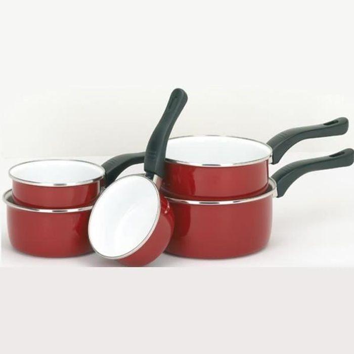 Série comprenant  5 casseroles acier émaillé ha...