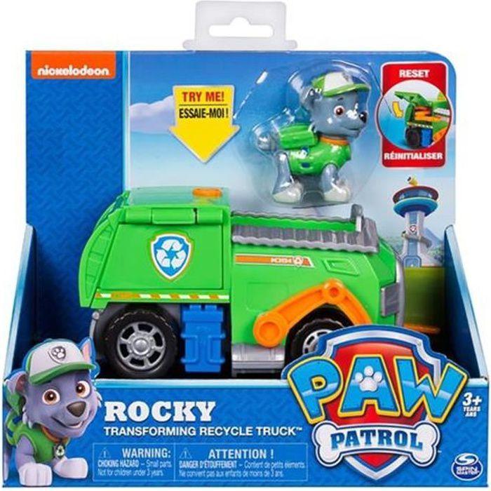 Patte patrouille Rocky transformant le camion de recyclage avec la figure