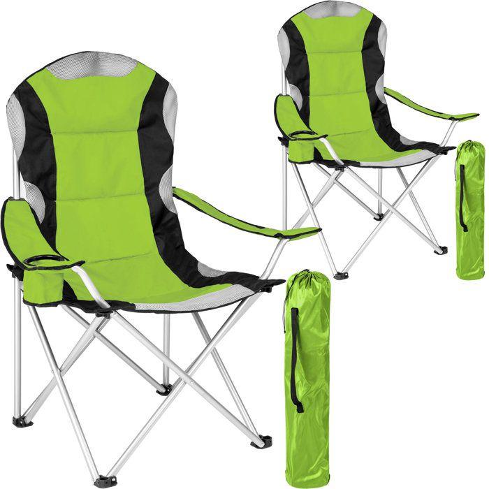 TECTAKE Lot de 2 Chaises de Camping pliables avec Porte Gobelet et Housse Sac de Transport Noir Vert