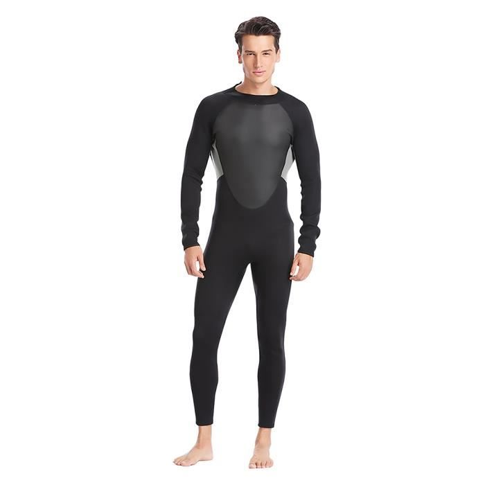 (XXXL) Combinaison de plongée chaude pour hommes 3MM - préparation de maillot de bain hiver paddle surf noir gris