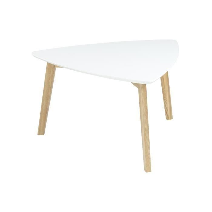Vitis table basse triangulaire 80x80 cm laqu blanc et for Table basse bois et laque blanc
