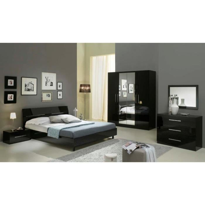 Chambre a coucher complete gloria noire 6 articles lit for Chambres a coucher adultes completes