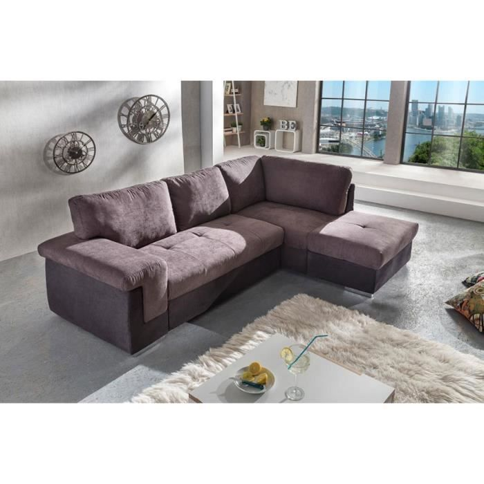 Canap d 39 angle convertible marron tissu harry 2 angle droit marron et noi - Canape angle convertible marron ...