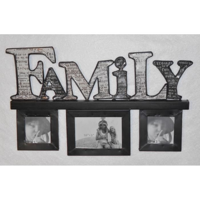 cadre photo mural multivues family en m tal achat vente cadre photo cdiscount. Black Bedroom Furniture Sets. Home Design Ideas