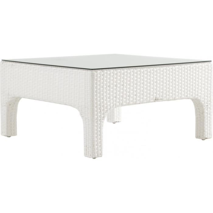 Table basse aluminium et r sine tress e blanche achat for Table basse jardin resine tressee