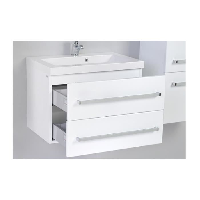 meuble bas et vasque 60 cm blanc laque 2 tiroirs achat. Black Bedroom Furniture Sets. Home Design Ideas