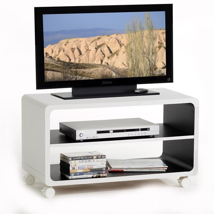 meuble tv tag re panneau de bois blanc noir achat. Black Bedroom Furniture Sets. Home Design Ideas