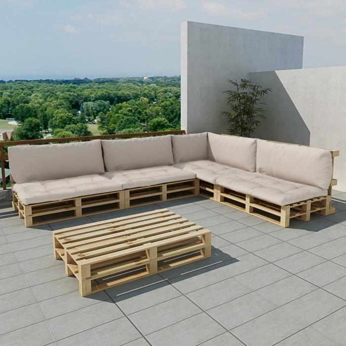 Salon de jardin 15 pcs en palette avec coussins blanc MAJA+ ...