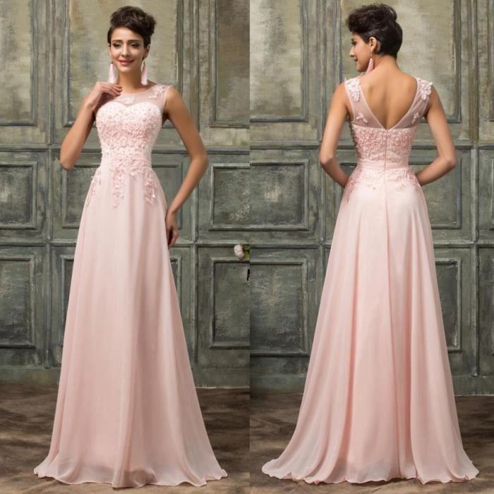 Robes De Bal Dentelle Rose Longues Robes De Soiree En Mousseline De