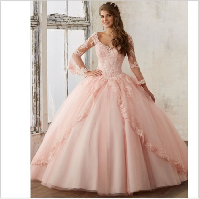 l gant manches longues robe de bal quinceanera robe. Black Bedroom Furniture Sets. Home Design Ideas