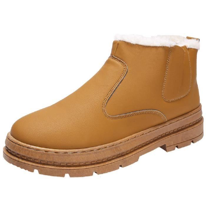 Homme Souliers Marche De Chaussures Hiver Travail Sport Simple Neige Adulte Sécurité Marron Bottes bf7gy6