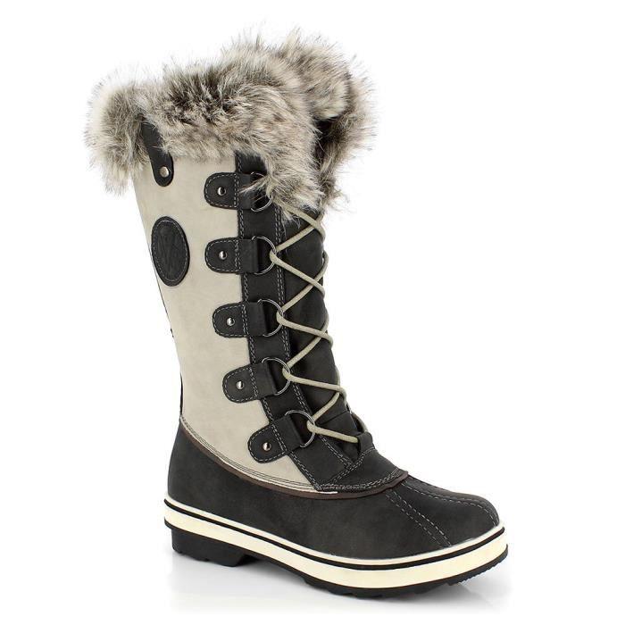 Hiver Femme Chaud Daim Cheville Bottes De Neige Fourrure épaissir ski Flats Chaussures De Loisirs @