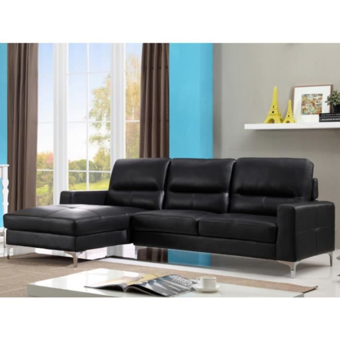 canap d 39 angle en cuir flynn noir angle gauche achat vente canap sofa divan cdiscount. Black Bedroom Furniture Sets. Home Design Ideas