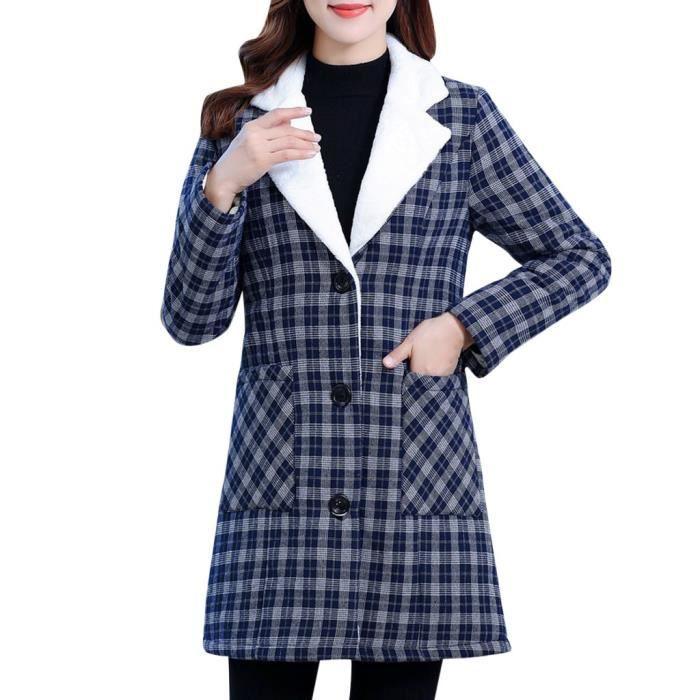 manteau - caban - pardessus Femmes d'hiver Plaid Imprimer Cardigan manches longues en coton revers Fermeture à glissière Motther