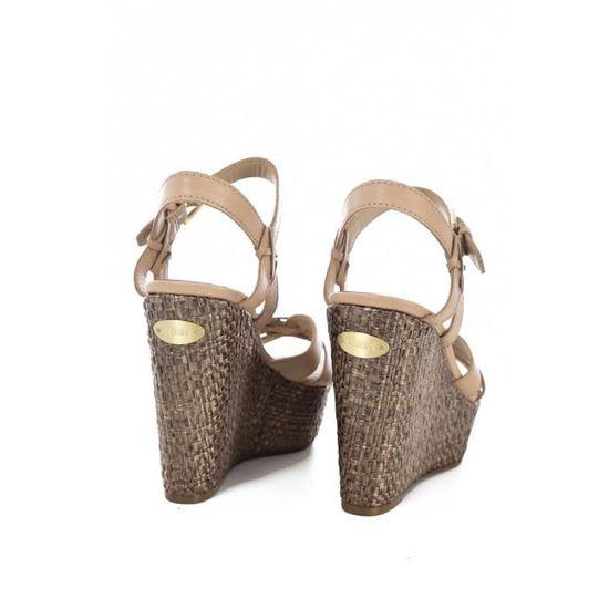Sandales En Cuir Talon Compensé Fl6gul Lea04 Guess Jeans