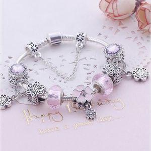 BRACELET - GOURMETTE 18cm Charms Bracelet Femme Pandora Style bijoux Fe