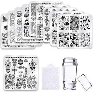 STICKERS - STRASS Biutee 10pcs Plaque Stamping Nail Art avec Tampon