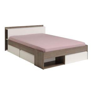 STRUCTURE DE LIT Cadre de lit à tiroirs + Tête de lit 160*200 Blan