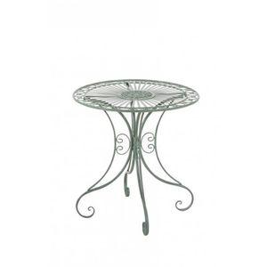 TABLE DE JARDIN  Table de jardin en fer forgé diamètre Ø 70 cm vert