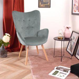 FAUTEUIL Fauteuil Chaise de Velours Vert Foncé Accoudoir To