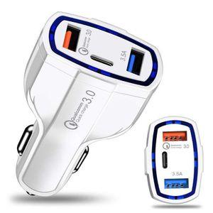 CHARGEUR TÉLÉPHONE Charge rapide 3.0 avec chargeur de voiture USB typ