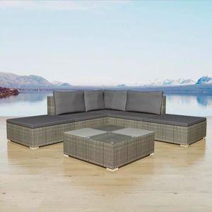 Ensemble table et chaise de jardin Jeu de canapé de jardin 15 pcs Gris Résine tressée