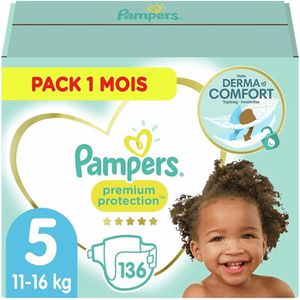 COUCHE PAMPERS Premium Protection Taille 5 11-23kg - 136