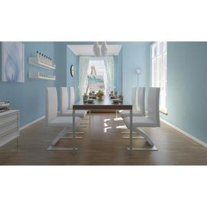 CHAISE 6pcs Chaises de salle à Manger avec pieds chromés