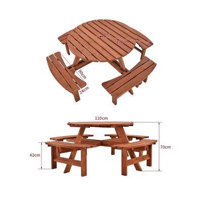 Ensemble Table Ronde 8 Places en Bois Moderne Résistant aux Rayons UV pour  Jardin, Balcon, Terrasse