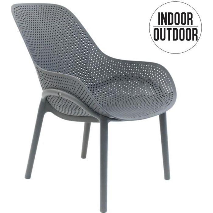 Poufs fauteuils et chaises - Fauteuil Malibu - L 77,5 x P 59 x H 82 cm - Gris