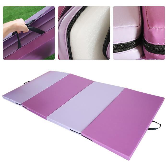 WISS Tapis de Gymnastique Pliable Rose 240x120x5cm Matelas Portable pour Fitness, Yoga, Sport et Exercice