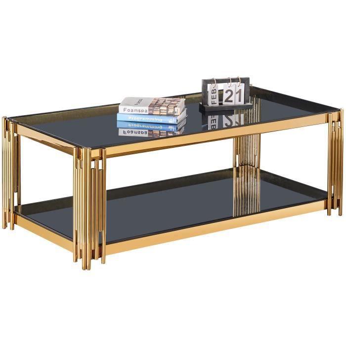 Table basse design en acier inoxydable poli doré et plateau en verre trempé anthracite L. 120 x P. 60 x H. 45 cm collection MILANO