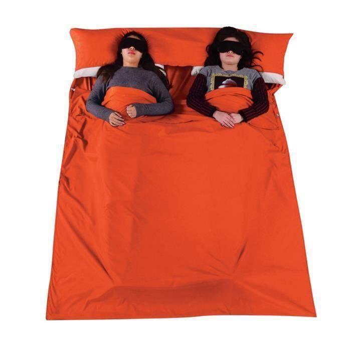 Sac de couchage pour 2 personne Camping Randonnée Orange Aa48453