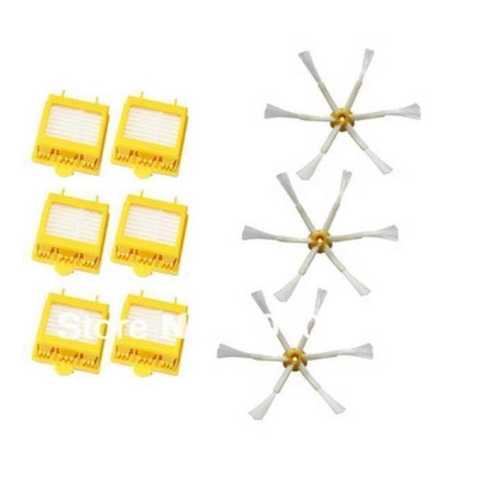 Kit De 6 Filtres HEPA + 3 6-Bras Brosse Latérale Pour iRobot Roomba série 700(760 770 780 790)