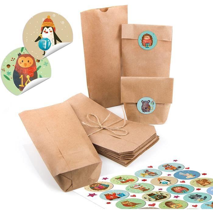 Lot de 24 petits sacs en papier kraft marron naturel 10,7 x 22 x 4,2 cm + chiffres de 1 à 24 chiffres ronds animaux d'hiver au[636]