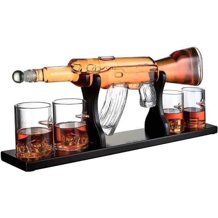 1000 ML M16 Gun Large Decanter Set Bullet Glasses, Carafe à Whisky élégante pour Fusil avec 4 Verres à Whisky Bullet et Base en Bois