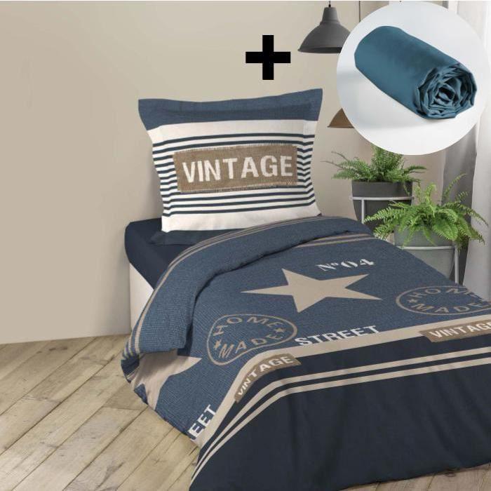 CDaffaires Pack parure de couette 140x200 cm 100% coton Freedom + drap housse 90x190 cm Bleu