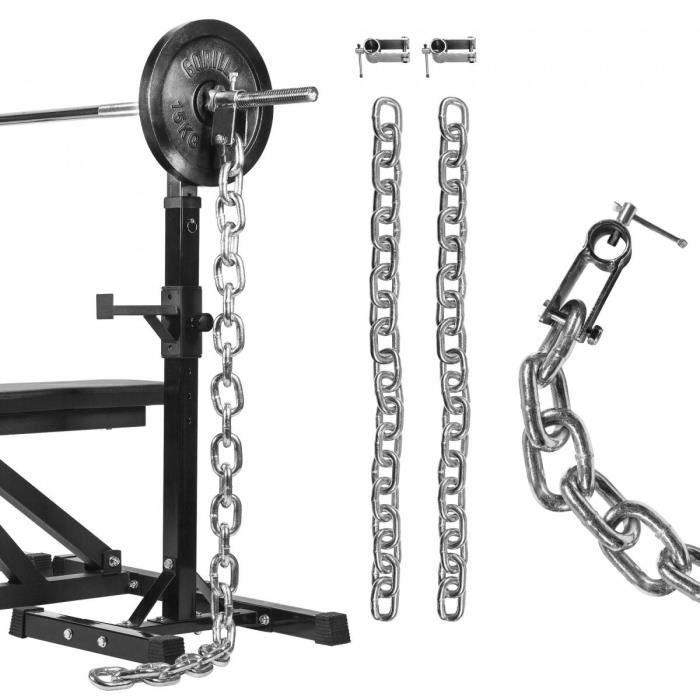 Gorilla Sports - Kit de chaînes de musculation chromées pour des barres de 31mm - 16KG (2x8KG)