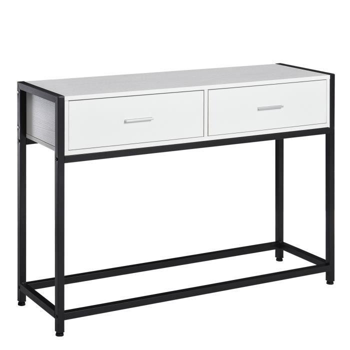Console table d'appoint design dim. 120L x 34l x 81H cm 2 tiroirs métal noir panneaux particules blanc 120x34x81cm Blanc