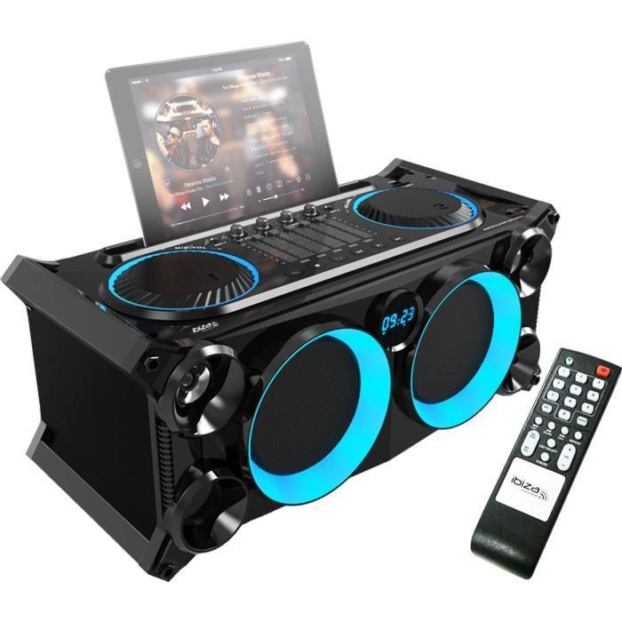 Système audio stéréo mobile & autonome avec Bluetooth-USB-SD-FM - Ibiza Sound SPLBOX200-BK