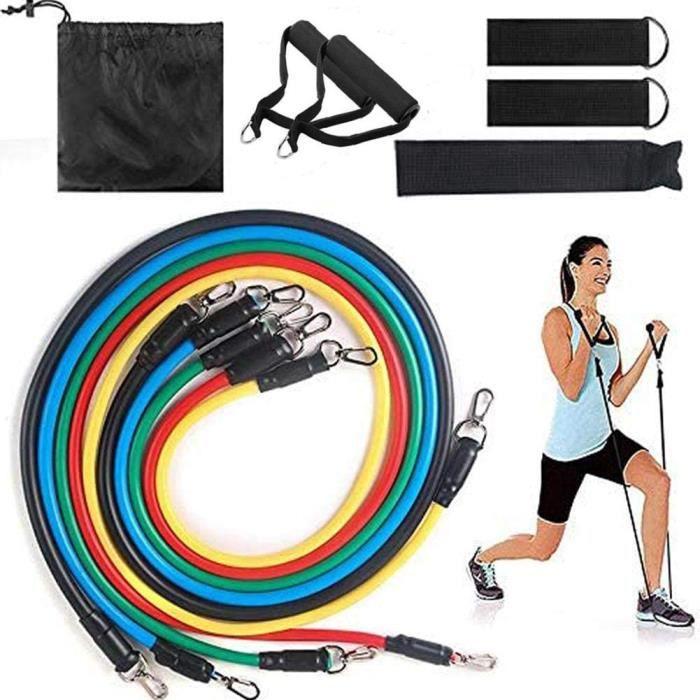 Bande de Résistance Set, 11 pièces Bandes de Résistance Tube Élastique Fitness Exercice Yoga Pilâtes Gym Sport