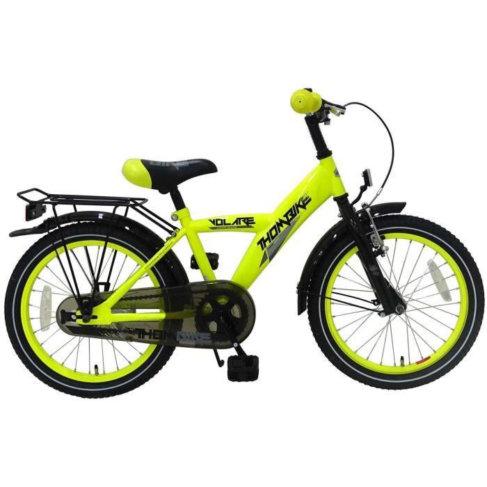 Thombike Vélo Enfants Garçon 18 Pouces Frein Avant sur Le Guidon et Le Frein Arrière à Rétropédalage Jaune Néon Assemblé à 95%