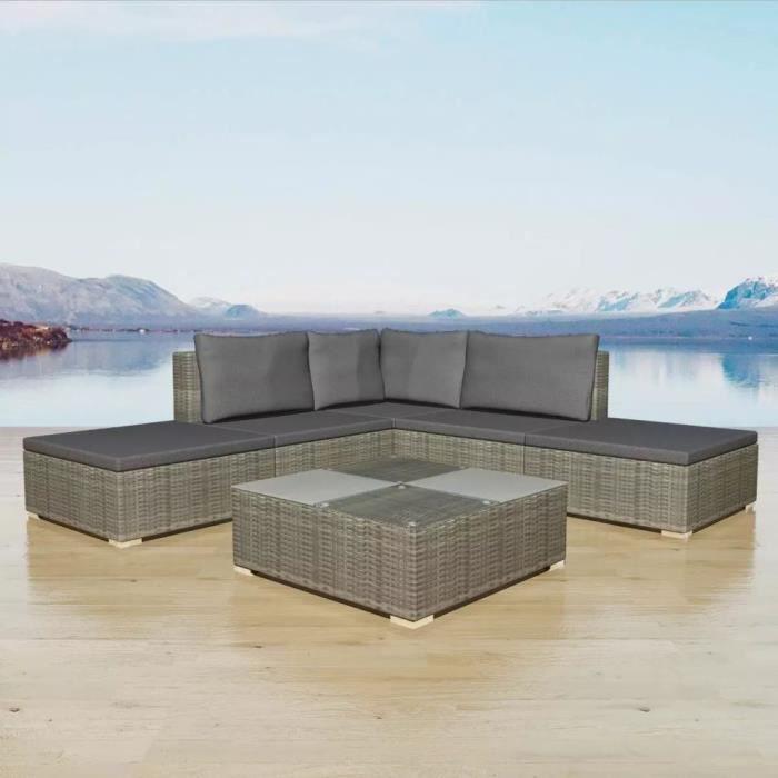 Jeu de canapé de jardin 15 pcs Gris Résine tressée Canapé-lit Confortable Canapé d'angle convertible