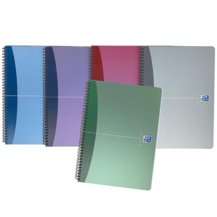 Cahier à spirales Urban Mix - Format A5 (90 g-m2) - 180 pages à petits carreaux - Couleurs assorties