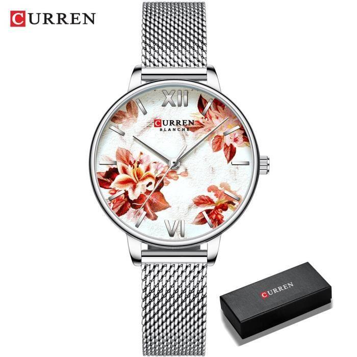 RUMOCOVO® Montre-bracelet en cuir pour femmes, Design floral, montre à Quartz, à la mode - Boîte blanche S-argent